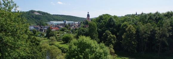 Blick auf die Siegpromenade und die Stadt Wissen