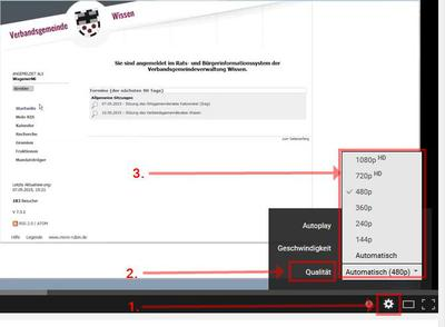 Hinweis Einstellung Bildqualität Youtube-Webvideo