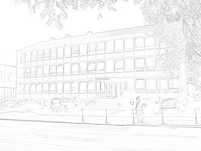 Rathaus als Bleistiftzeichnung
