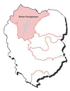 Kartenumriss der Ortsgemeinde Birken-Honigsessen